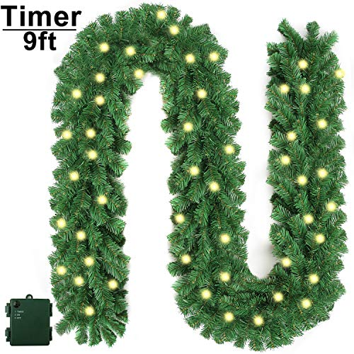 APPOK Christmas Garland with Lights, Prelit Xmas Garlands with Timer Outdoor Lighted Christmas Garlands with 50 LED Battery Powered String Light for Indoor, Party, Home Decoration, 9 Ft by 10 Inch