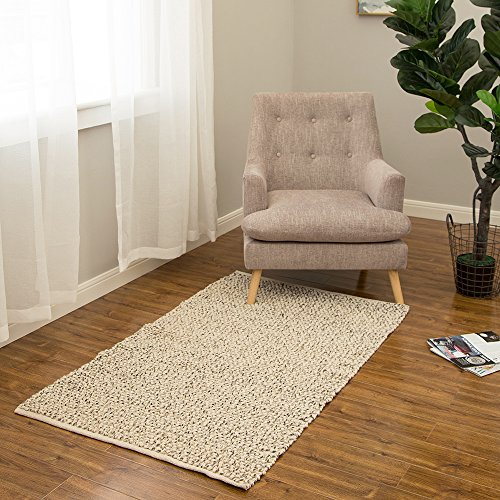 Glitzhome 5'Lx3'W Handcrafted Woven Beige Heavy Premium Wool Area Rug (Capel Rugs Chenille Rug)