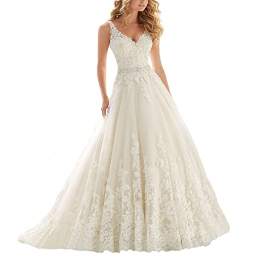 Fair Lady Women's Double V-Neck Lace Applique Empire Chapel Train Wedding Dress