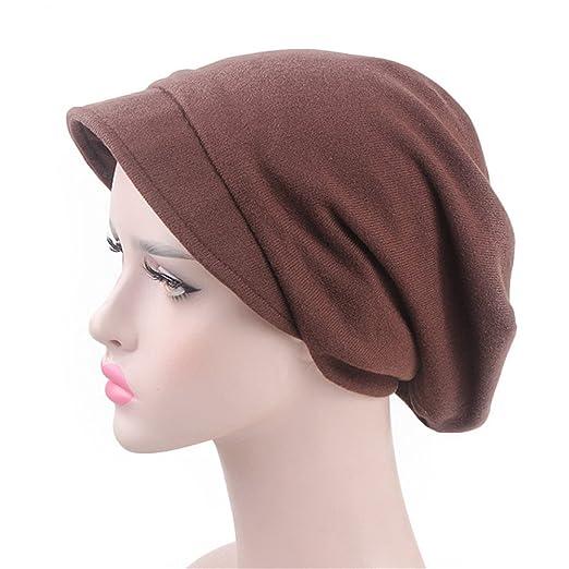 53eb24cea27 DuoZan Womens Soft Wool Blend Newsboy Hats Baggy Slouchy Visor Beret Beanie  Chemo Cap (Brown) at Amazon Women s Clothing store