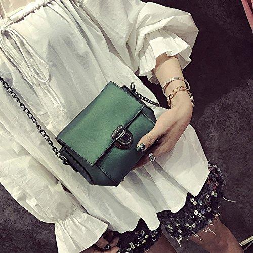 pequeña hombro cuadrada Bolsa green Bolsa Bolsa coreano Hombro de de mini cadena bolso Mat verde pu Bolso z6q86
