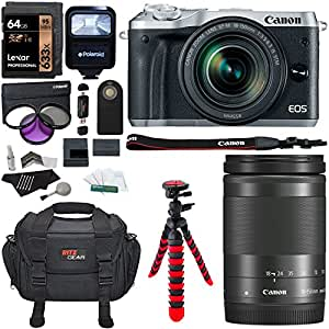 Canon EOS M6 Silver Camera with 18-150mm f/3.5-6.3 IS STM Lens Kit, Lexar 64GB Memory, Ritz Gear SLR Camera Bag, Polaroid Flash and Accessory Bundle