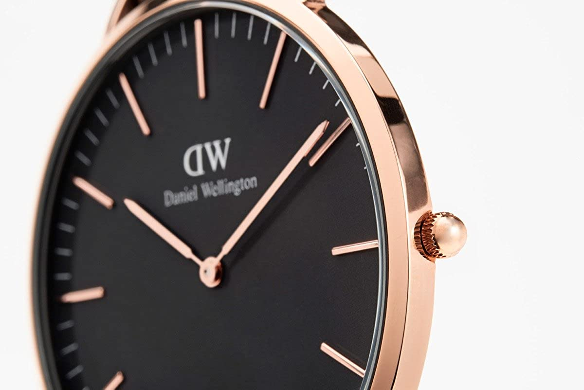 Daniel Wellington Classic St Mawes Watch, Italian Brown Leather Band Rose Gold/Black