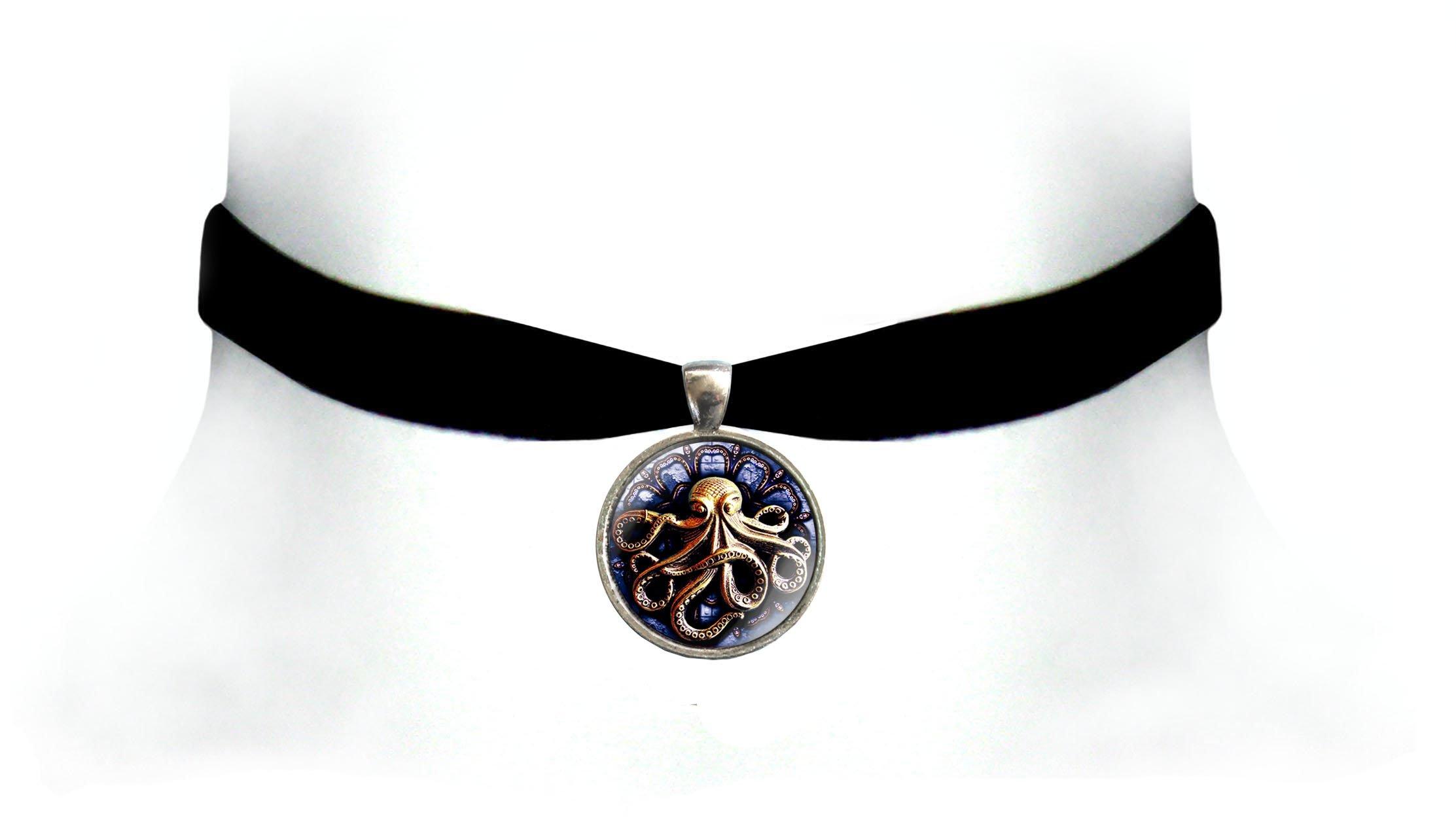Victorian Vault Kraken Octopus Black Velvet Choker Steampunk Gothic Pendant Necklace 3