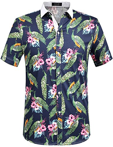 SSLR Men's Peacock Button Down Slim Fit Short Sleeve Casual Shirt (X-Large, Navy) - Male Peacock