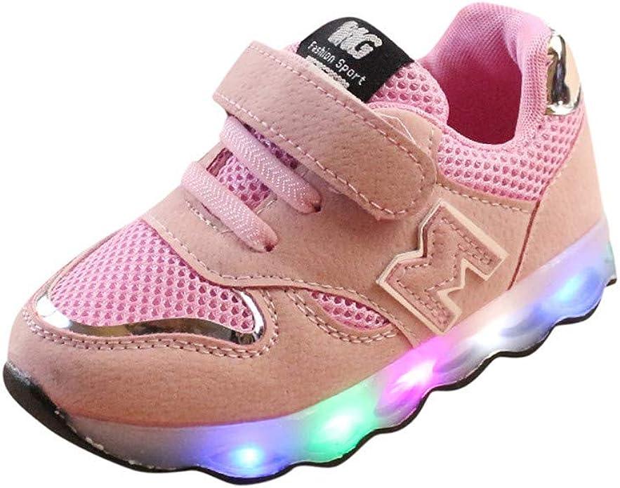 JiaMeng Zapatos de Bebé Viaje Antideslizantes Niños Bebés Zapatillas Niños Zapatos de Malla Zapatos de bebé para niños Zapatillas de Deporte con luz LED iluminadas (Rosado,5-5.5T): Amazon.es: Zapatos y complementos
