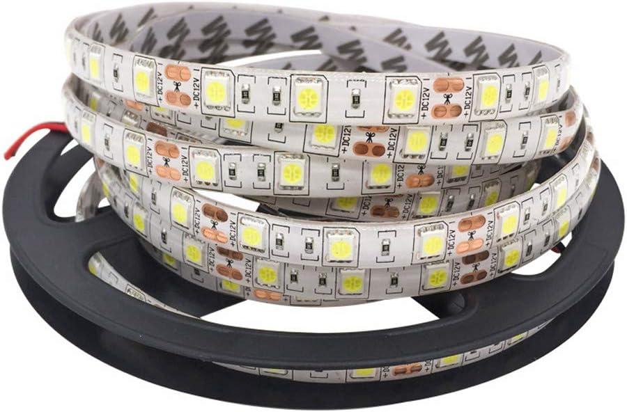 TABEN Tira de luz LED flexible a prueba de agua de 24V, tiras de luz LED cortables de 16.4 pies / 5 m, 300 LED 5050SMD cadena de iluminación, cinta LED (blanco, 6000K)