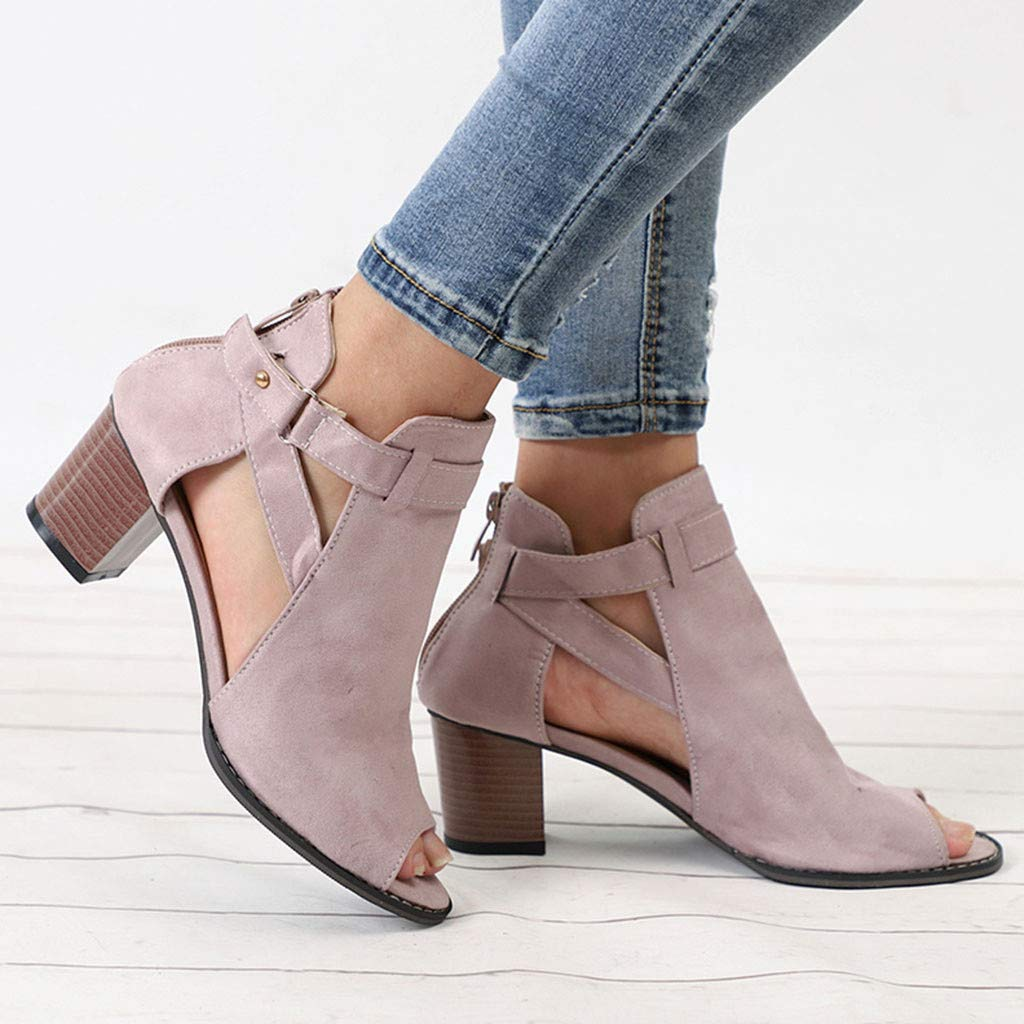 Orangeskycn Women Sandals Spring Summer Square Heel Solid Sandals Fashion Fish Mouth Hollow Out Roman Single Shoes