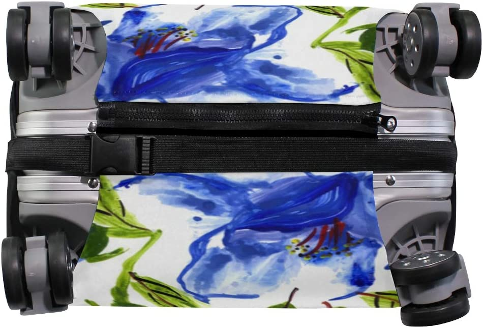 Travel Luggage Cover Blue Watercolor Floral Green Leaves Suitcase Protector