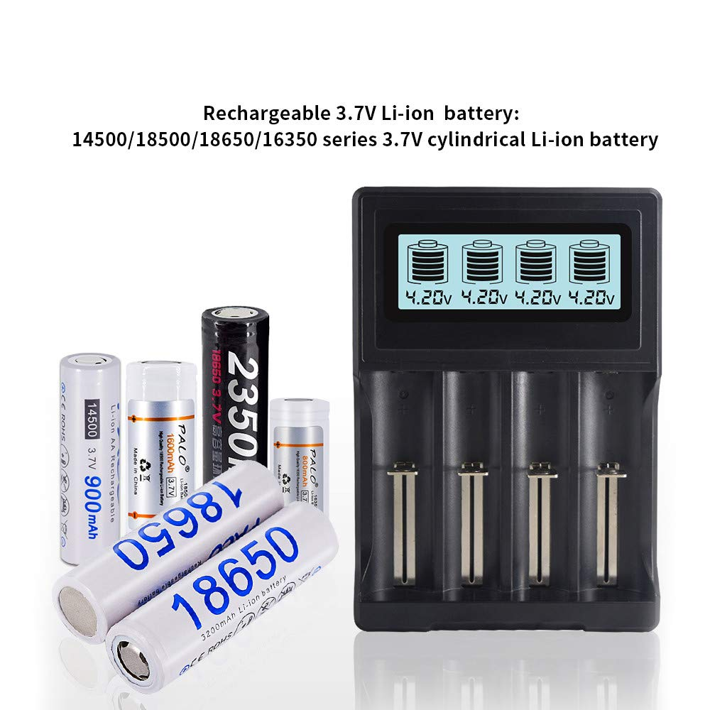 20700 Charger 4-Port LCD Display Universal 3.7V Lithium ion Battery Charger for 18650 18500 18560 18350 RCR123A 14500 26650 22650 20700 Rechargeable Batteries 26650 Charger 18650 Batteries Charger