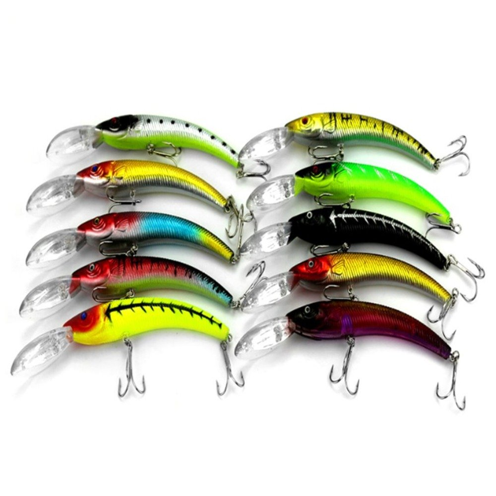 10 Pcs 15.5CM/16.3g Fishing False Baits Set Submerged Minnow Hooks Fake Baits