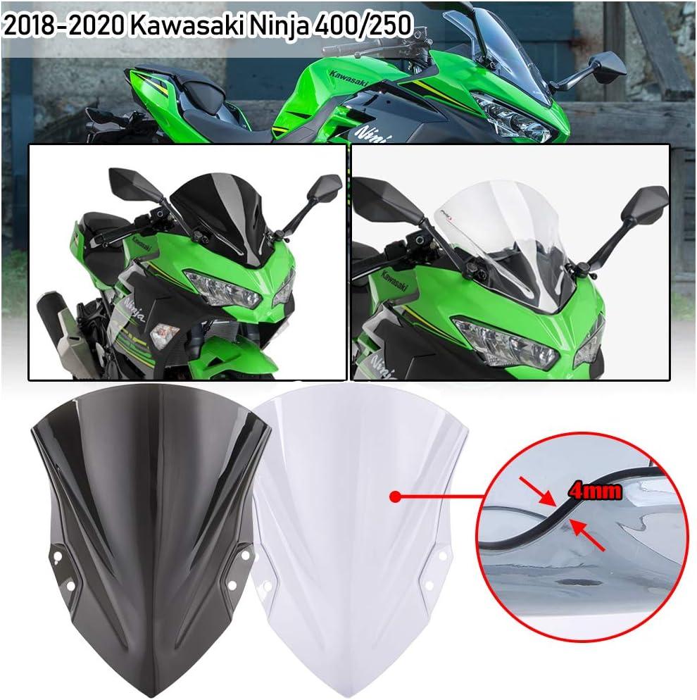 Black Motorcycle Windshields,Double Bubble ABS Windscreen,for Kawasaki Ninja 400 250 2018 2019