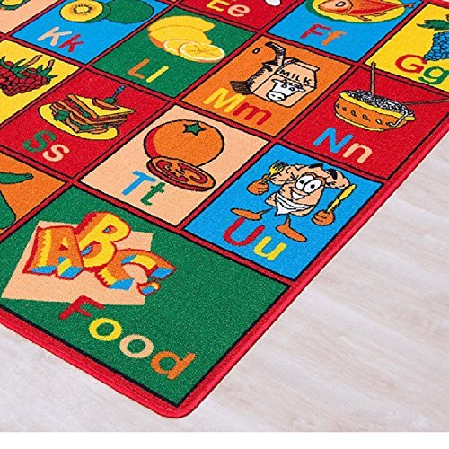 Champion Rugs 5x7 Kids Area Rug ABC Food Learning/ Playtime Carpet (4ft11in.x6ft10in.) (5 Feet X 7 Feet)