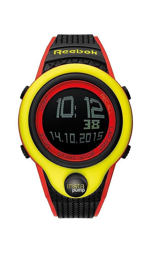 3411ab842dde Amazon.com  Reebok Pump InstaPump Digital Men s Chrono Watch Black Yellow  and Red RC-PIP-G9-PYPB-BW  Watches