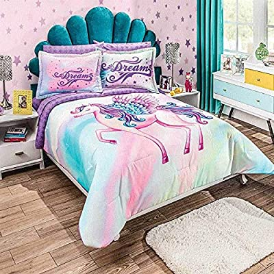DreamPartyWorld Unicorn Dreams Comforter Bedding Sheet Set Teens Girls Full 7 PCS Limited Edition: Home & Kitchen