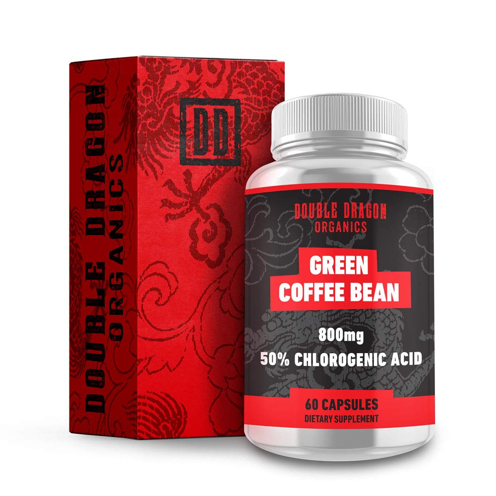 Double Dragon Organics :: Green Coffee Bean Extract - Energy Booster (30 Servings) :: 800MG | 50% Chlorogenic Acid :: 60 Capsules :: Natural, Pure, and Gluten Free by Double Dragon Organics