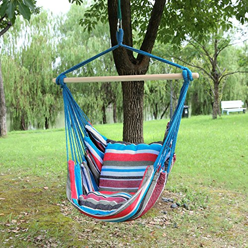 Blissun Hanging Hammock Chair, Hanging Swing Chair with Two Cushions, 34 Inch Wide Seat Blue & Green Stripes (Cool Breeze)