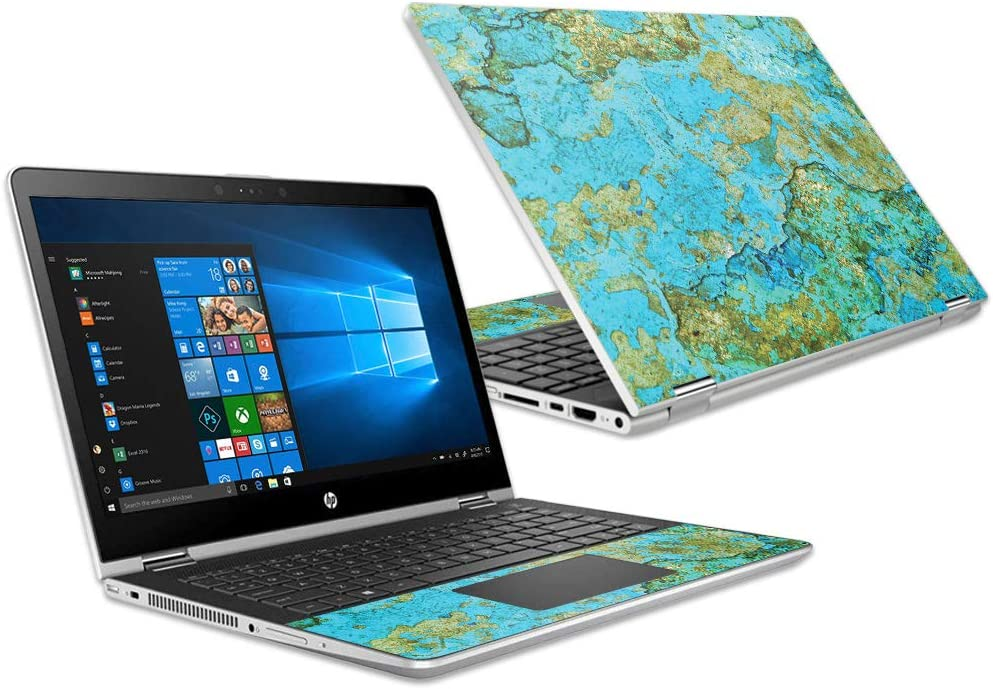 """MightySkins Skin Compatible with HP Pavilion x360 15.6"""" (2018) - Teal Marble 