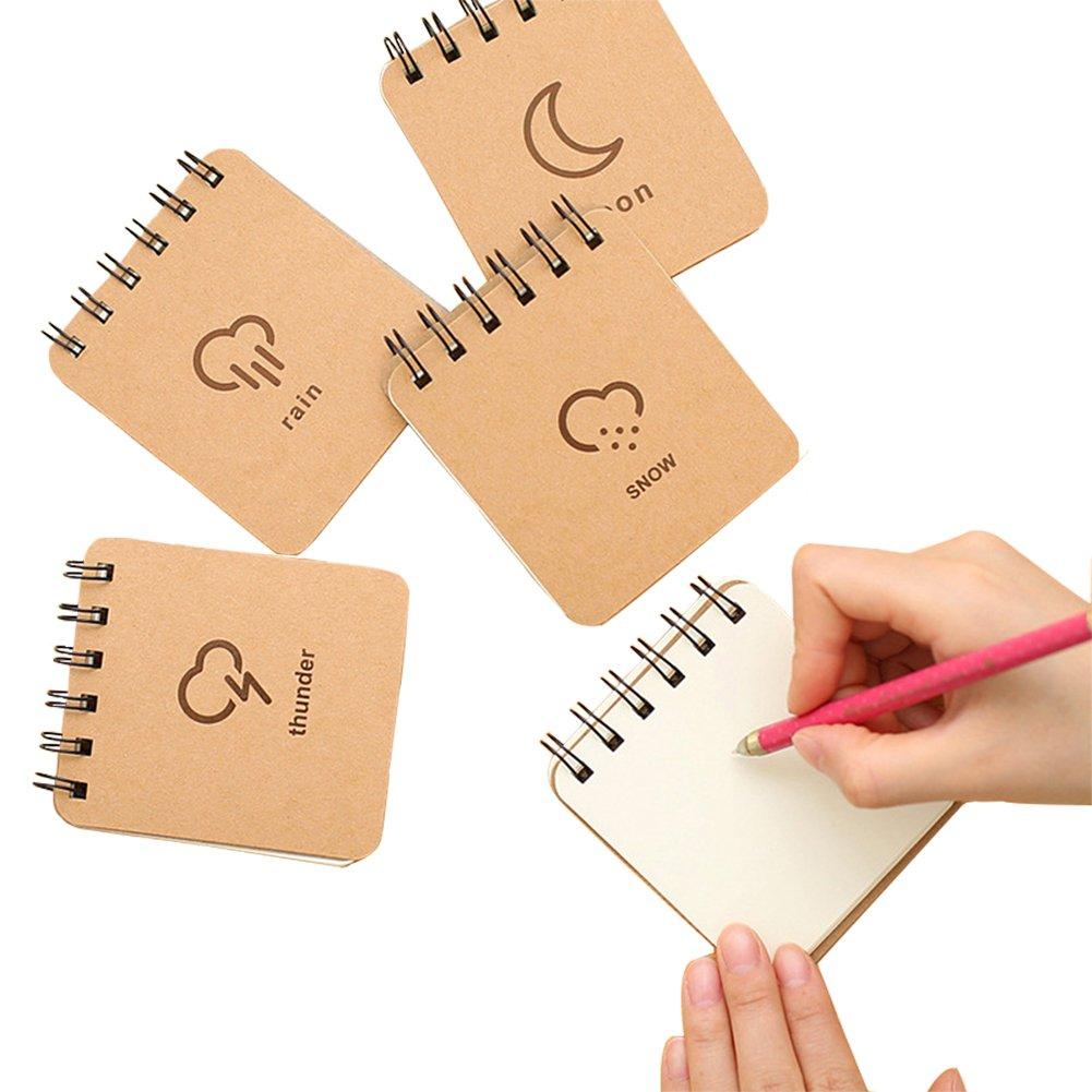 bigboba 1PCS Tragbare Mini Spirale Notebook Cartoon Wetter Serie Memo Book Muster zufällige