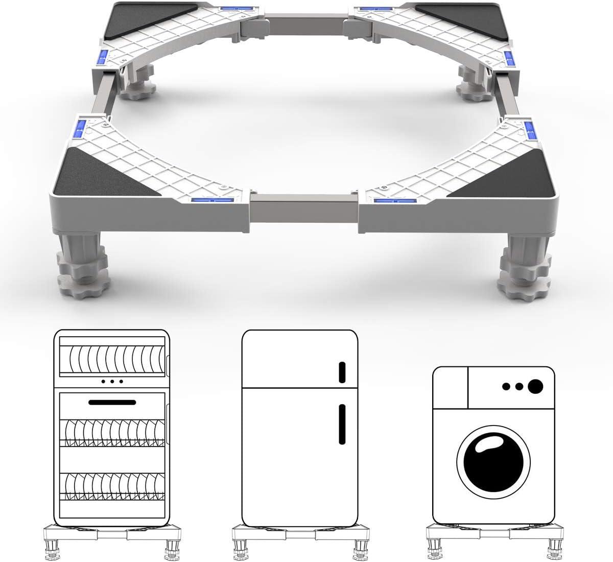 Dewel Base Lavadora Soporte Lavadora Secadora 44.8~69cm Ajustable con 4 Pies de Goma Resistentes