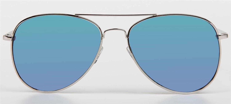 styleBREAKER Sonnenbrille verspiegelt, Aviator Pilotenbrille getönt mit Federscharnier, Unisex 09020037, Farbe:Gestell Halbrand Gold / Glas Orange-Rot, V13