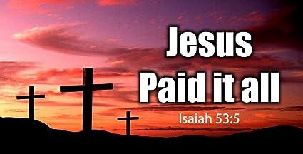 Amazon Com Three Crosses Sunset Jesus Paid It All License Plate