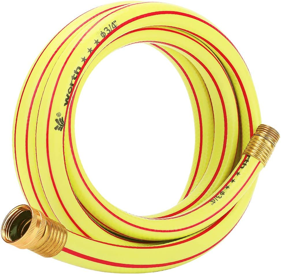 Homes Garden 10 ft. Short Garden Hose 3/4 inch Yellow Lead-Hose Male/Female Commercial Brass Coupling Fittings for Water Softener, Dehumidifier, Vehicle Water Filter 5 Years Warranty #G-H163A09-USA