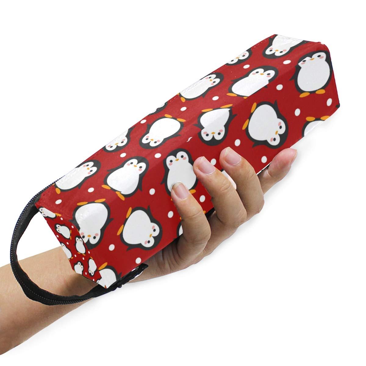 Carino pinguino carino con neve portatile custodia morbida per occhiali da vista per donne e ragazze con cerniera porta occhiali da sole bianco e rosso