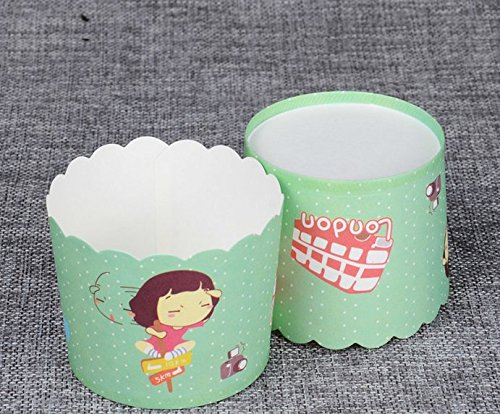 50 PCS Muffin Cup Cupcake Paper Cups Rigid Mechanism of High Temperature Resistant Cup -Green+Key Chain (Paper Pick Mechanism)