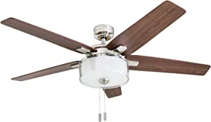 "Prominence Home 50880-01 Cicero Contemporary Ceiling Fan, 52"", LED Drum Shade Glass Light Fixture, Brushed Nickel"