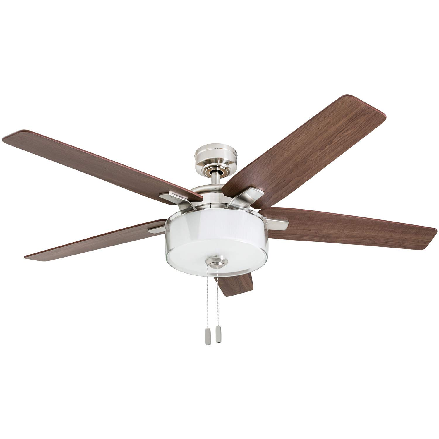 Prominence Home 50880-01 Cicero Contemporary Ceiling Fan, 52 , LED Drum Shade Glass Light Fixture, Brushed Nickel