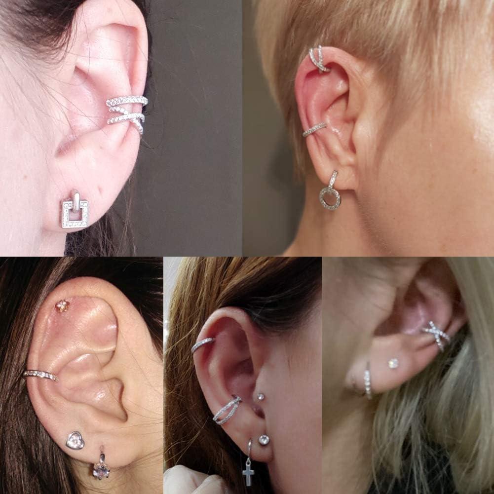 Ear Cuff Earrings for Women Girls Helix Cartilage Clips Fake Hoop Earrings Small Hoop Huggies CZ Cubic Zirconia Earcuff Non Piercing Cartilage Earrings Ear Pods Adjustable Stainless Steel
