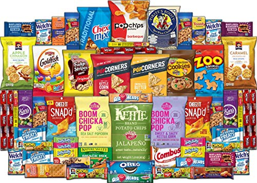 Snack Care Package - Assortment of Chips, Popcorn, Crackers, Cookies, Bars, Candy & Nuts (60 Pack) ()