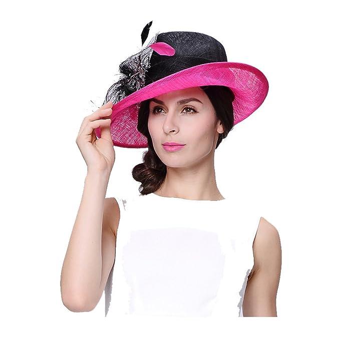 Koola s hats Sombrero para el Sol de Ala Ancha Sombreros de la Iglesia  Sombrero de Boda b2202ae5c43