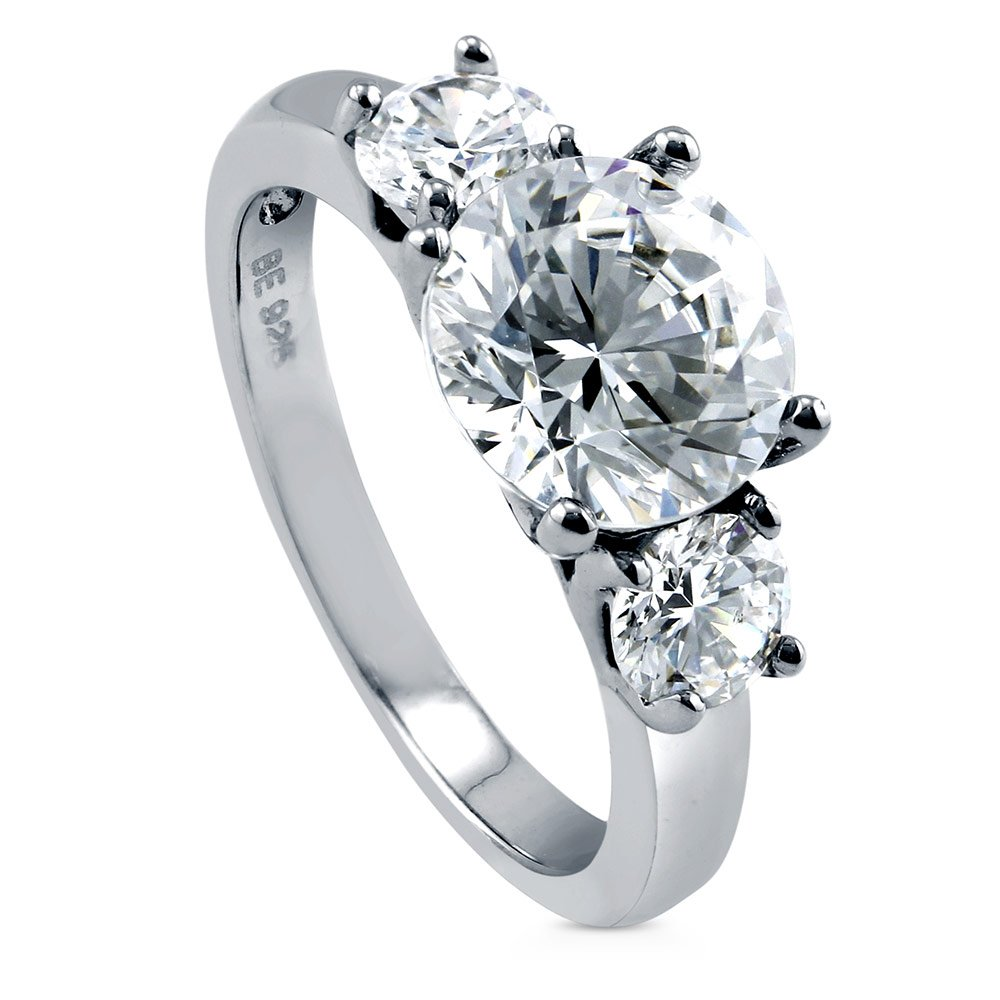 BERRICLE Rhodium Plated Sterling Silver Round Cut Cubic Zirconia CZ 3-Stone Engagement Ring Size 9
