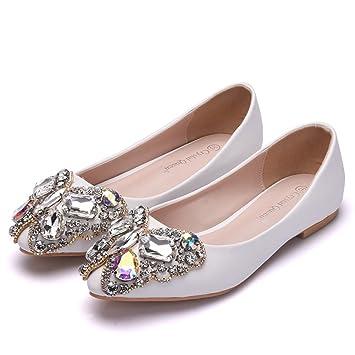 GAIHU Mocasines de mujeres blancas sobre los planos de deslizamiento boda Zapatos de novia Bombas de Strass Glitter tacones bajos señoras Ballet tamaño ...