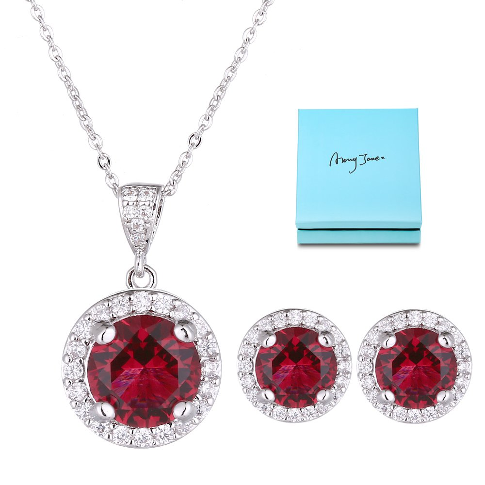 Crystal Jewelry Set for Women - Elegant Sterling Silver Round Red Cubic Zirconia CZ Rhinestone Necklace Halo Stud Earrings Set Wedding Party Ruby July Birthstone Fashion Jewelry Set Birthday Gift