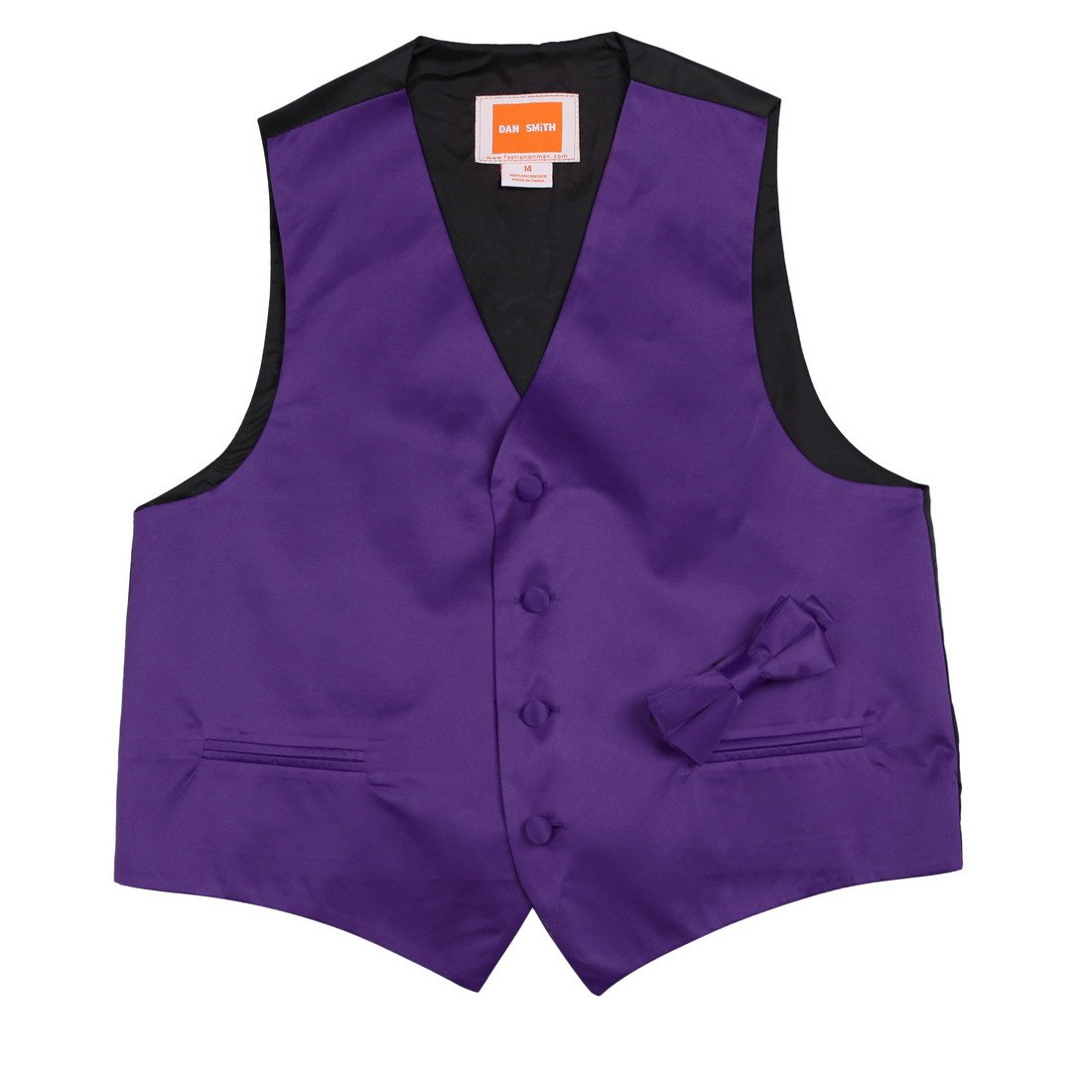 Dan Smith DGEE0017-10 Dark Brown Children Solid Vest Microfiber Gift For Marriage Kids Vest with Matching Bow Tie for Age 10