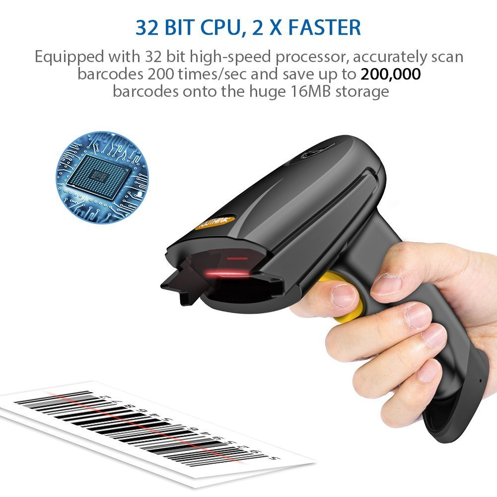 Portable Handheld 1D Bar Code Reader with Automatic Continuous Scan Inventory Mode via 16M Memory Storage for Computers mac ipad iphone Android Phone Wireless Bluetooth /& USB Wired Barcode Scanner