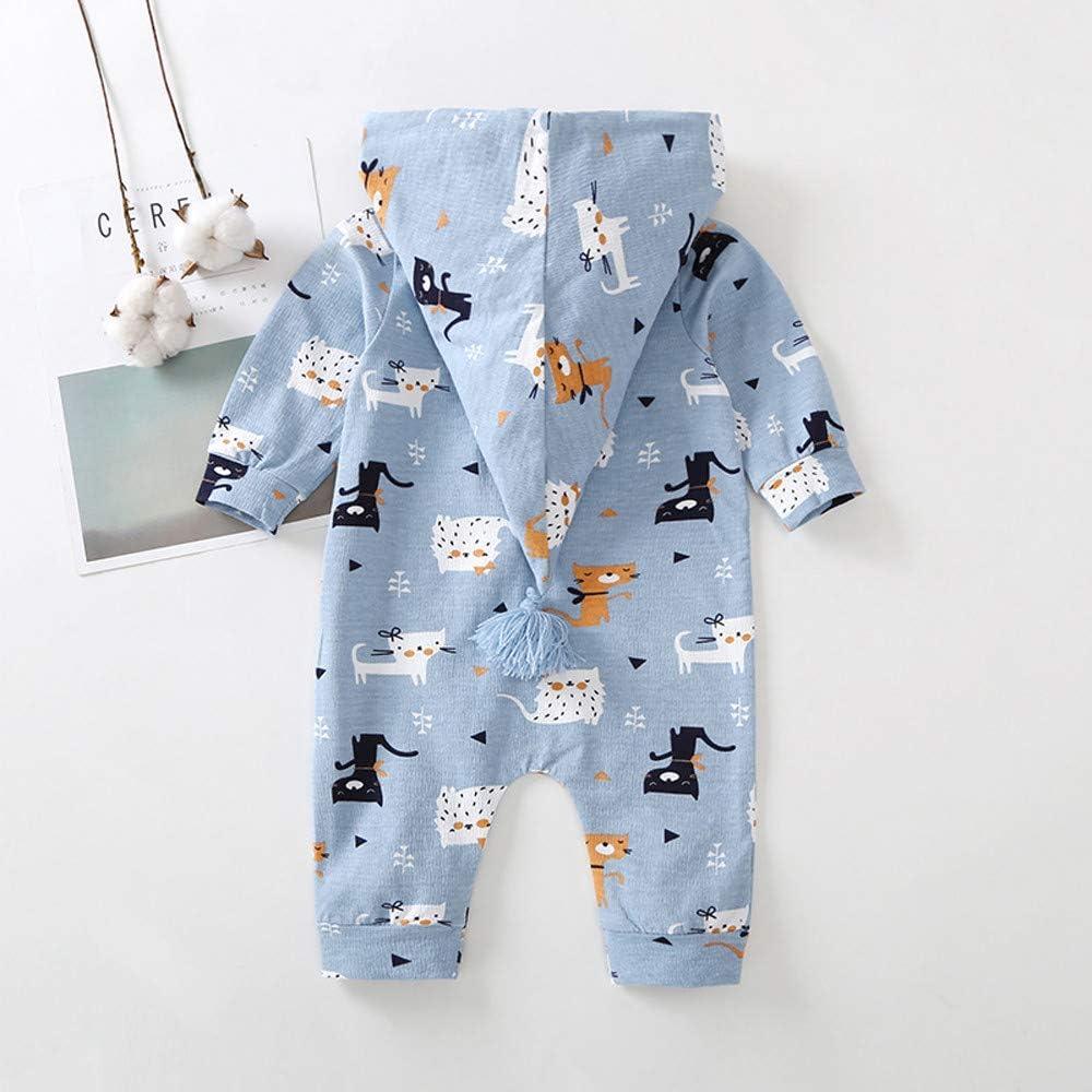 FreshZone Infant Toddler Baby Girls Boys Cartoon Zipper Hooded Caps Romper Jumpsuit 6-24months