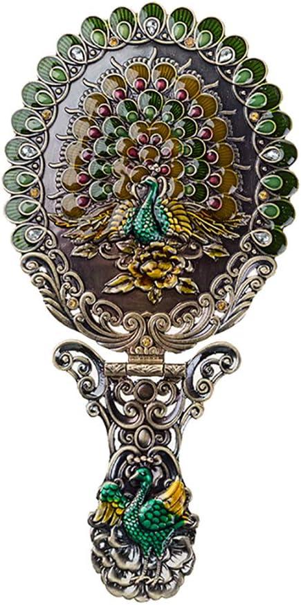 Nerien Women's Vintage Foldable Metal Antique-Style Floral Phoenix Russian Style Vanity Mirror Cosmetic Portable Handle Mirror Bronze