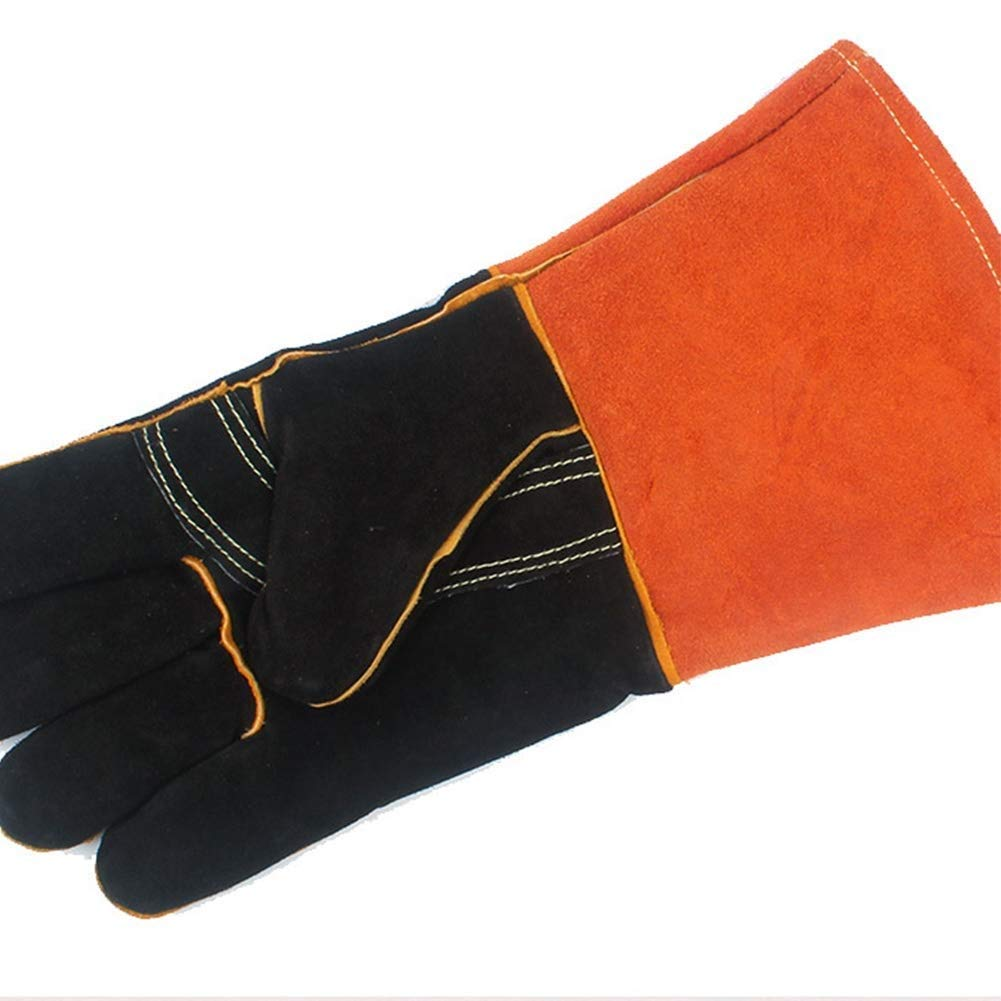 IRVING Outdoor BBQ gloves camping fire barbecue high temperature insulation thickening long welding protective gloves leather by IRVING (Image #5)