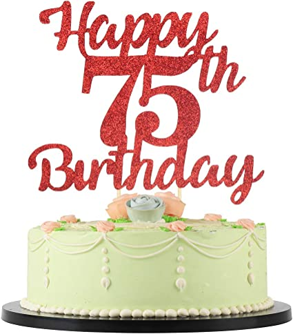 Outstanding Amazon Com Lveud 75Th Birthday Cake Topper For Happy Birthday Funny Birthday Cards Online Elaedamsfinfo