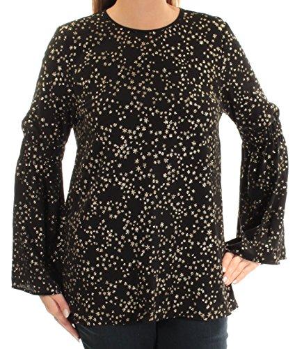 Michael Kors Womens Star-Print Bell-Sleeve Blouse Black L