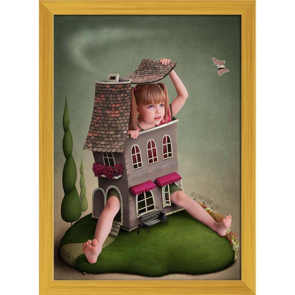 Pitaara Box Girl In Small House On The Lawn Canvas Painting Golden