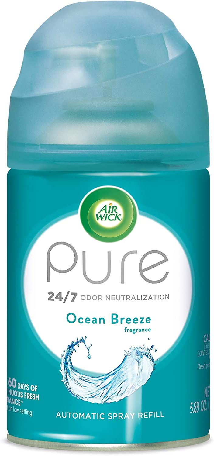 Air Wick Pure Freshmatic Refill Automatic Spray, Ocean Breeze, 1ct, Air Freshener, Essential Oil, Odor Neutralization, Packaging May Vary, 5.89 Ounce
