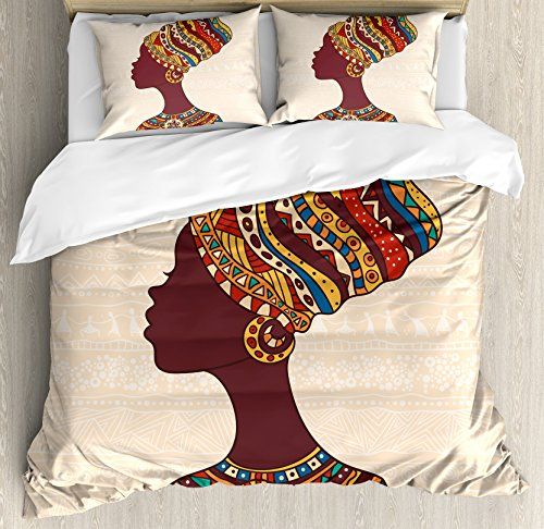 Ambesonne Tribal Decor Duvet Cover Set, African Woman in Traditional Ethnic Fashion Dress Portrait Glamour Theme Graphic, A Decorative 3 Piece Bedding Set with Pillow Shams, Queen/Full, Cream Brown ()