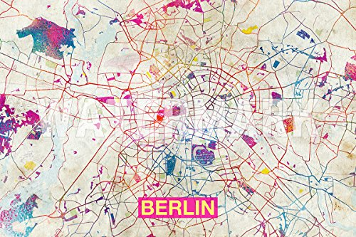 Introspective Chameleon Berlin (Germany) Artistic Modern Map - Original Photo Poster Print - Perfect Gift - Size: 15 x 10 Inches