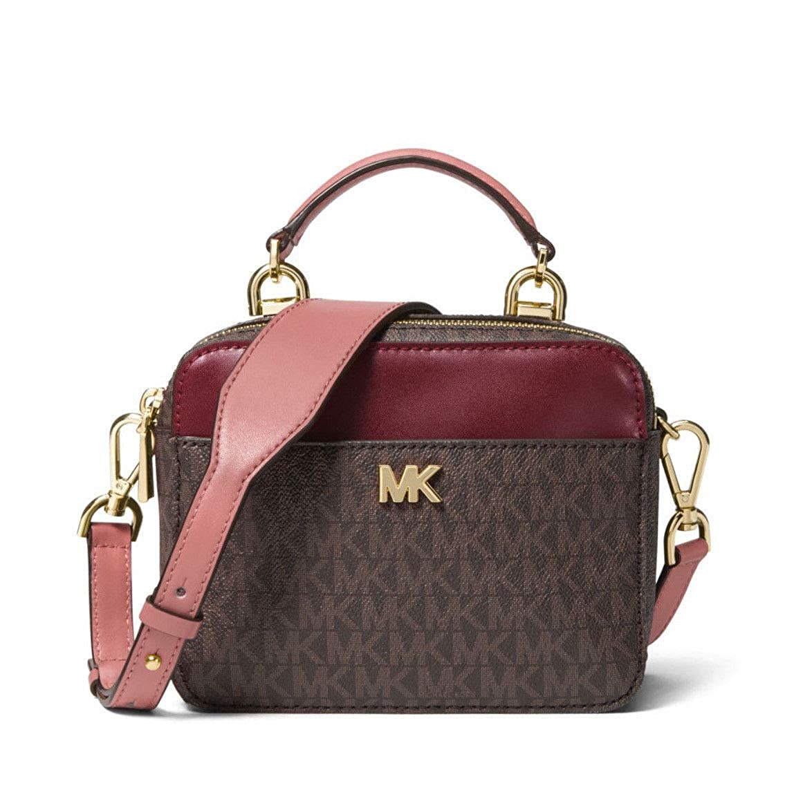c66eca3f4611 MICHAEL Michael Kors Mott Mini Logo and Leather Crossbody in Rose:  Handbags: Amazon.com