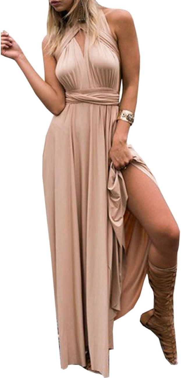 TALLA M. EMMA Mujeres Falda Larga de Cóctel Vestido de Noche Dama de Honor Elegante sin Respaldo Champán